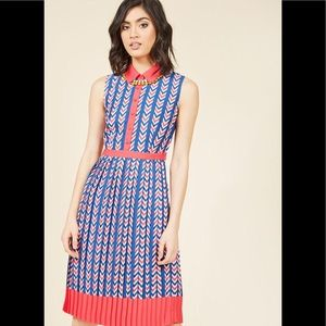 ModCloth Just My Typeist Chevron Sleeveless Dress